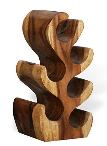 KMH®, Schönes Weinregal Cactus klein (ca. 50 cm) aus massivem Suar Holz (#400117)