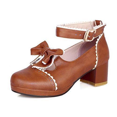 AllhqFashion Femme Rond Matière Souple Couleurs Mélangées Boucle Chaussures Légeres Brun