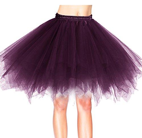 age Petticoat Winter Falten Rock Tüllrock Kurz Ballett Tanzkleid Abendkleid Gelegenheit Zubehör Grape XL (Tutu Frauen)