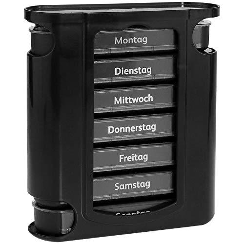 WELLGRO® Tablettenbox für 7 Tage - je 4 Fächer pro Tag, 11,5 x 4,5 x 13 cm (BxTxH) - Farbe wählbar, Farbe:Schwarz
