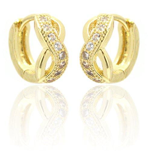 2LIVEFOR orecchini con cerchi dorati infinity 18K piccolo glitter oro rosa zirconi
