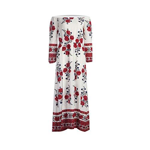 Boho Style Long Dress Women Off Shoulder Beach Summer Printed Floral Maxi Dress Red M 3/4 Length Down Coat