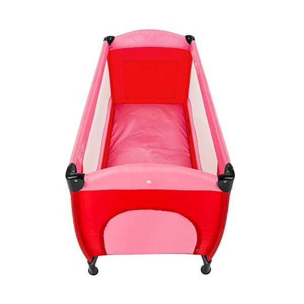 TecTake Baby Travel cot Bed playpan with Practical Carry Bag - Different Colours - (Pink | no. 402415) TecTake This wonderful travel cot is especially practical for holidays or spending the night with grandparents // Total dimensions (LxWxH): 126 x 65 x 80 cm // Weight: 8.7 kg. The high-quality, stable frame and mattress offer your little one a comfortable place to sleep on their travels. This practical travel cot can be set up almost anywhere in next to no time // Dimensions, collapsed (LxWxH): 78 x 28 x 25 cm. 3
