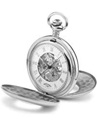 Mechanical Rotary Pocket Watch with White Dial Analogue Display & Skeleton Movement. Stainless Steel Case & Chain. Ref MP00712/01