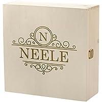 Preisvergleich für polar-effekt Kramkiste 25 x 25 cm als Geschenk-Idee - Holzbox mit Gravur - Motiv Verzierte Initiale