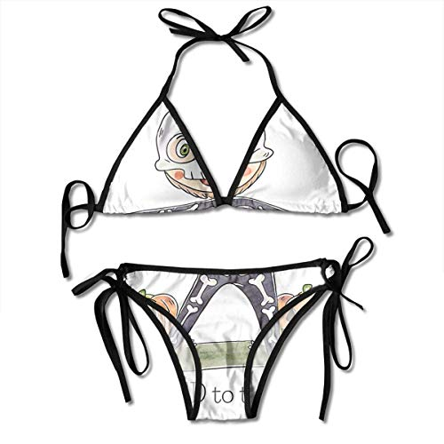 Skelett Kostüm und Kürbis Frauen Sexy Bikini Set Badeanzug Badeanzug Dreieck Bademode Zweiteilige Anzüge (Frauen Sexy Skelett Kostüm)