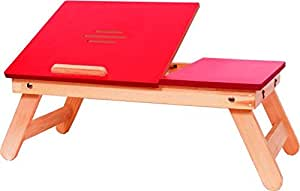 IBS Red Matte Finish With Drawer Solid Wood Portable Laptop Table  (Finish Color - RED)