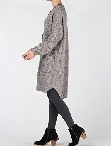 MatchLife Femme Chandails d'automne Tricotés Pull Tops Style 3-Gris