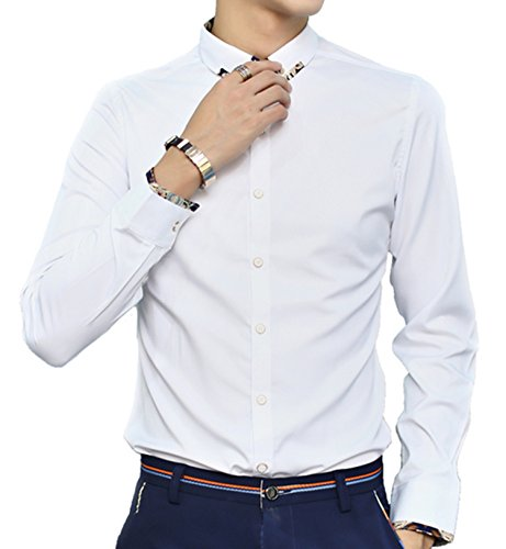 DD UP Herren Koreanische d¨¹nne Temperament Grund Solid Color Langarm-Hemd White
