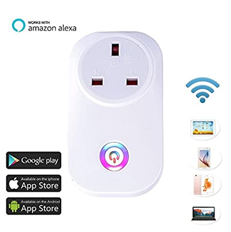 Wifi Wireless Smart home Socket Work with Alexa Google Assistant Remote Control Plug Timing Function UK Plug Switch Free IOS / Android App