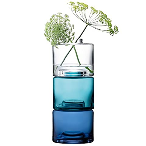 LSA International Stack Vase Trio H30 cm, Clear/Blues x 3 - Vase Trio