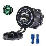 JENOR 12V-24V Dual-USB-Ladegerät Für Motorrad-Auto-LKW-ATV-Boot LED 2.4A Dual-USB-Buchse Ladegerät Power Adapter Outlet
