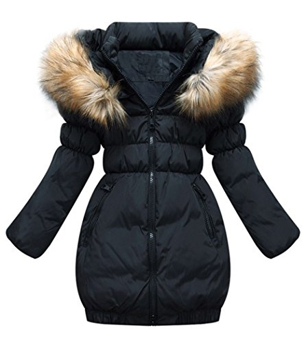 MILEEO Kinder Mädchen Winterjacke mit Kunstpelz Tailliert Lang Jacket Wintermantel Mantel Parka Oberbekleidung Winter, Schwarz, EU 134-140/Asia 140