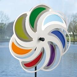 CIM Edelstahl Windrad - Blume 28 Mond Rainbow - wetterfest - Windspiel Ø28cm - inkl. 70cm Standstab und Bodendübel (Mond Rainbow)