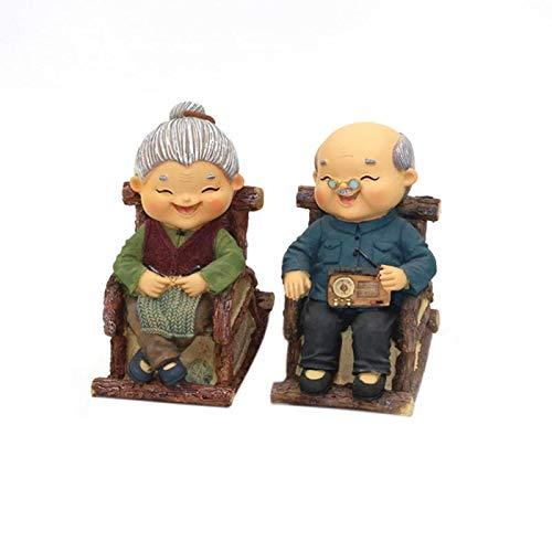 Woofun Garten Statue Harz Handwerk-der Happy Alte Paar-Miniatur Bemalt Figur The Happy Couple 01 -