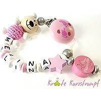 Schnullerkette mit Namen für Mädchen mit Teddy/Bär, Stern und Motivperle 'Kleine Prinzessin' in rosa, weiss, silber