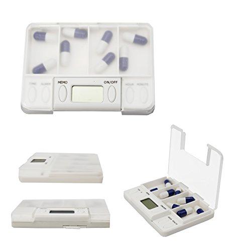 Der&Dies tragbare mini Mediplanner Pillenplaner Medikament Wecker Medikamentendosierer Tablettenbox Pillenbox mit ALARM für Reise,Camping, Angeln,Wanderung, Spazieren (Kooperationsanleitung inkl.)