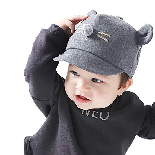 Tonsee Baby Mütze Beanie, Winter Jungen Mädchen Hut Tiere Design Soft Wollene Hüte Kinder Cap Unisex Einfabrig und Streifen (Schwarz(1-2T))