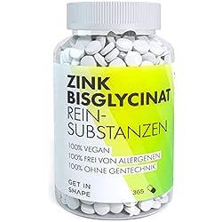 Zink Tabletten 25 mg Hochdosiert, Vegan, Maximal Bioverfügbar. 365 Zink Bisglycinat Tabletten (Zink Chelat) für Haut, Haare, Nägel, Immunsystem von GET IN SHAPE