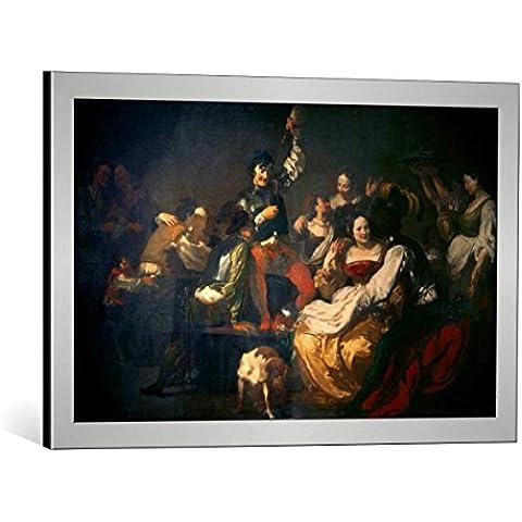"""Quadro con cornice: Johann Liss """"Landsknechtsgelage (Der verlorene Sohn bei den Dirnen)"""" - stampa artistica decorativa, cornice di alta qualità, 70x45 cm, Argento spazzolato"""