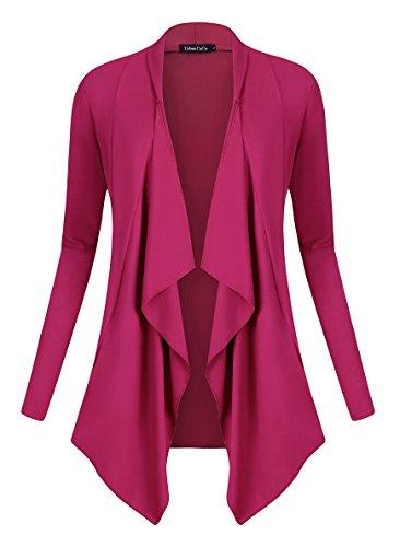 Urban GoCo Damen Strickjacke Cardigan Langarmshirt Wasserfall Strickmantel (M, Fuchsia Rose) Sleeve Jersey-jacke