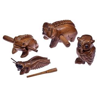 4 Klangtiere im Set ( Frosch, Schwein, Grille, Eule) - Klang Tiere - Musik Tiere - Musik-/Percussion-Instrumente aus Holz