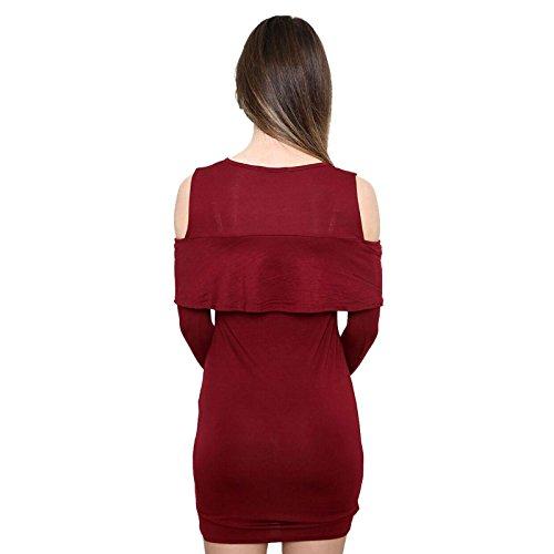 Janisramone - Robe - Robe moulante - Uni - Manches Longues - Femme noir * taille unique Bordeaux