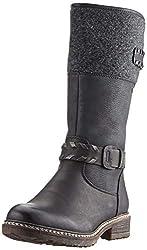 Rieker Damen 94779 Hohe Stiefel, Schwarz (schwarz/schwarz/Altsilber/anthrazit 00), 43 EU