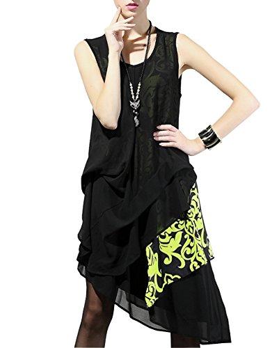 ELLAZHU Damen Blume Gedruckt Einmalig Design Asymmetrisch Ärmellos Kleid DY68 Gelb