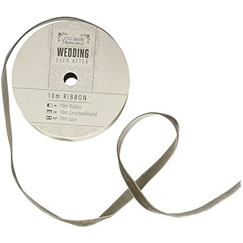 Papermania-Nastro in velluto, per matrimoni, 10 m, colore: grigio scuro