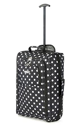 Frenzy® / Cities® Lightweight Hand Luggage Travel Holdall Baggage Wheely Suitcase Cabin Approved Bag Ryanair Easyjet And Many More - 1.6k - 40 Litres - PADLOCK INCLUDED (Black Polka Dot)