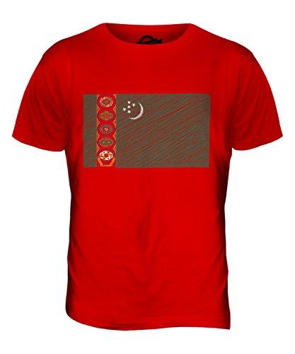 CandyMix Turkmenistan Kritzelte Flagge Herren T Shirt Rot