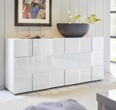 mobile contenitore 3 ante moderno BIANCO LUCIDO soggiorno madia buffet con sportelli design DAME 05
