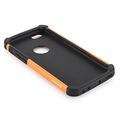 iPhone 6S Plus Hülle, iPhone 6 Plus Hülle, Pasonomi® Outdoor Stoßfest Weich Silikon Dual Layer Hybride Armor Hüllen Bumper Handy Tasche Cover Premium Etui für iPhone 6S Plus (2015) / iPhone 6 Plus (20 Orange