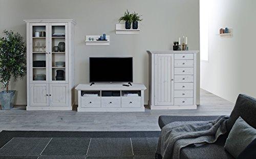Steens Group 7317012013001F Wohnwand, Kiefer massiv, Holz, weiß, 56 x 355 x 190 cm - 2