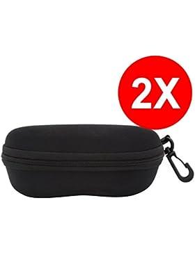 TBOC Funda Rígida Gafas de Sol - (Pack 2 Unidades) Estuche Negro Ligero con Cremallera para Cinturón Bolso Mochila...