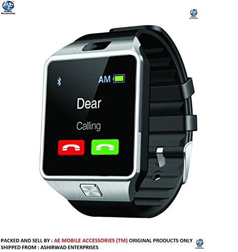 AE (TM) SW-M9 (SILVER) Bluetooth Smart Watch Phone With Camera and Sim Card Support With Apps like Facebook and WhatsApp Touch Screen Multilanguage Android/IOS Mobile Phone Wrist Watch Phone with activity trackers and fitness band features compatible with Samsung IPhone HTC Moto Intex Vivo Mi One Plus and many others! Launch Offer!!