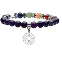 JOVIVI Schmuck, Amethyst Stein Armband 7 Chakra Sahasrara Symbol Anhänger Balance Armreif Reiki-Therapie Yoga-Armband preisvergleich bei billige-tabletten.eu