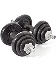 York Fitness Cast Iron Dumbbell Spinlock Set (Pack of 2) - Black, 20 Kg