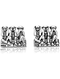 Shaze Silver Brass Anti-Rhodium Finish Wisdom Cufflinks for Men