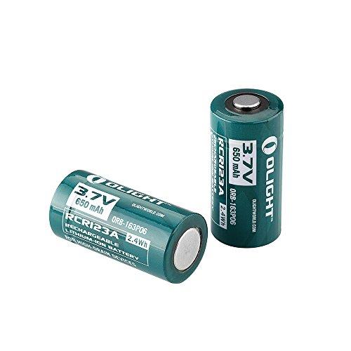 Galleria fotografica Olight RCR123A 2 Pezzi Batterie al litio ricaricabile 16340 650mAh 3,7V 1 Anno di Garanzia Per torce fotocamere prodotti elettronici