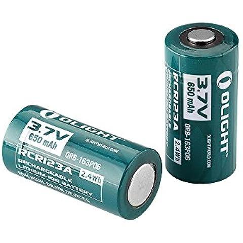Olight® RCR123A - Batteria al litio Ricaricabile 16340 - 3,7 V - 650mAh - 1 Anno di Garanzia (2 Batterie)