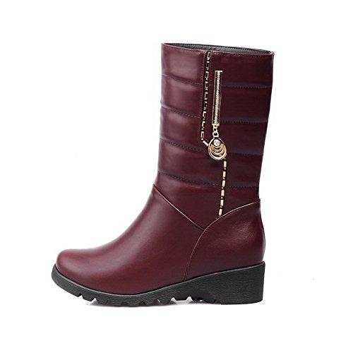 AgooLar Damen Eingelegt Niedriger Absatz Rund Zehe Ziehen auf Stiefel mit Anhänger, Braun, 34