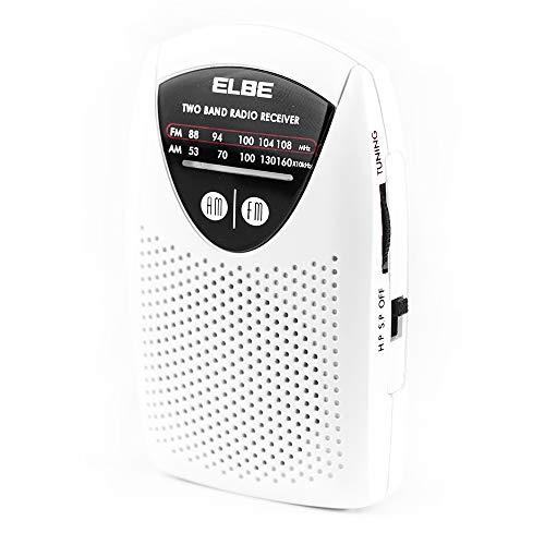 Oferta de Elbe RF-50 Miniradio de bolsillo sintonizador analógico am/FM, auriculares incluidos, súper Slim, altavoz incorporado, funciona con pilas, color blanco