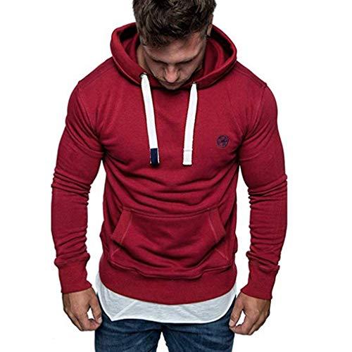 eujiancai Men Hoodies Men's Plain Long Sleeve Casual Hooded Sweatshirt Top Autumn Winter Casual Sports Hoody Tracksuits Blouse (S Red) -