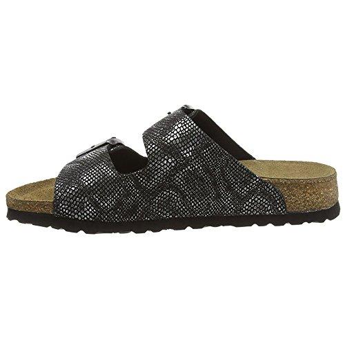 Papillio Womens Arizona Leather Sandals Royal Python Black