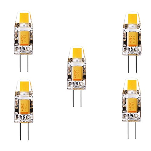 JIALUN-Glühbirne Bin-Base-Lampe G4 3 W COB 260 LM Warmweiß / Kaltweiß Dekorative Bi-Pin-Leuchten (AC / DC 10-16V) 5 Stck ( Color : Cool white ) (50w Gy6.35 Base)