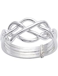 Silverly Women's .925 Sterling Silver Spinning Stackable 7 Interlinked Joined Layers Ball Bead Ring 1v7BODz