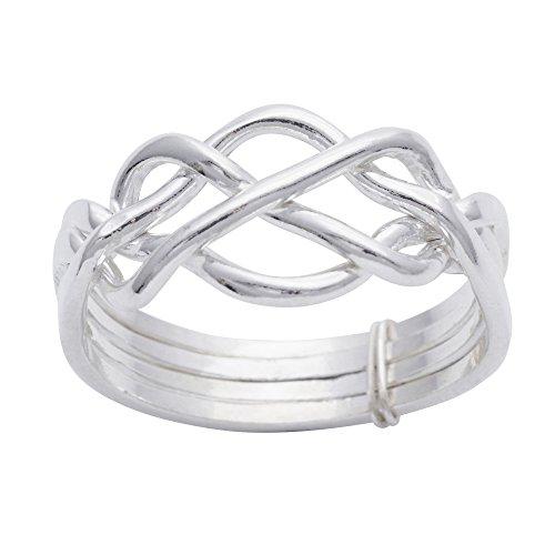 Silverly Frauen Männer .925 Sterling Silber Traditionelle keltische Knotenen Twist Vier Band Puzzle Ring