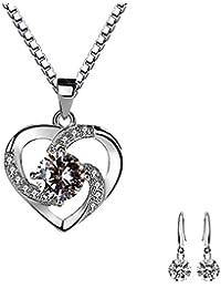 22d28ef8eda6 Lv.unique Collar Corazón Mujer Collar de Plata 925 Colgante Gema Corazón  Colgante de Collar de Plata Cubic Zirconia…